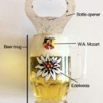 The W.A. Mozart Edelweiss Plastic Beer Mug Bottle-Opener Fridge Magnet